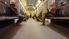 Modern u-bahn subway public transport train passengers, Berlin, Germany Stock Footage
