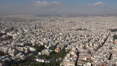 4K Amazing Athens panorama view residential building rooftop crowded suburb day Stock Footage