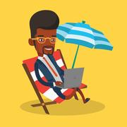 Businessman working on laptop at the beach Stock Illustration