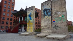 Remains of Berlin wall, monument at Potsdamer Platz, Berlin, Germany Stock Footage