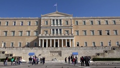 4K Timelapse tourist people take photo Hellenic Parliament building Athens icon Stock Footage