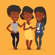 Three smiling friends looking at mobile phone Stock Illustration