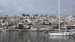 4K Timelapse traffic car on suburban district Athens residential house old port Stock Footage