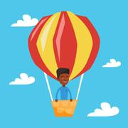 Man flying in hot air balloon vector illustration Stock Illustration