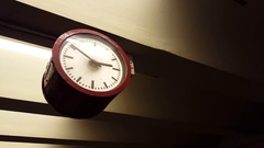 Old vintage train station clock, Berlin, Germany Stock Footage