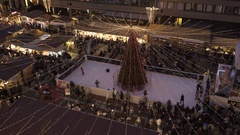 Budapest Christmas fair, ice skate Stock Footage