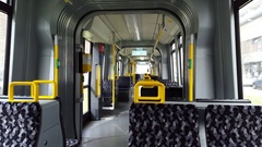 Ride inside empty tram train, Berlin public transport metro, Germany Stock Footage