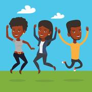 Group of joyful young friends jumping Stock Illustration