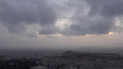 4K Timelapse dramatic cloud on stormy sky in Athens Acropolis icon in misty day Stock Footage