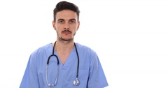 Medicine Doctor Man Look Camera Showing Ok Sign Great Expertise Hospital Concept Stock Footage