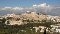 4K Timelapse tourist people visit Acropolis museum and Parthenon temple Athens Stock Footage