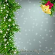 Christmas card with Christmas tree and jingle bells Stock Illustration