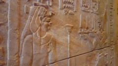 Egyptian hieroglyphics, old ancient history writing system, Berlin, Germany Stock Footage