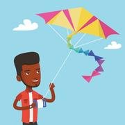 Young man flying kite vector illustration Stock Illustration