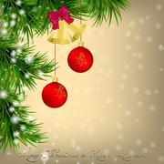 Christmas  Greeting card with Christmas tree and jingle bells Stock Illustration