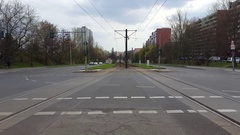 Tram train tracks intersection with cars, Berlin, Germany Stock Footage