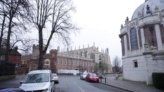 Eton College: Establishing shot - pan across the street Stock Footage