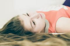 Portrait of beautiful mysterious girl Stock Photos