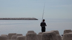 4K Timelapse fisherman angling rod at marine sport competition caught fish day Stock Footage