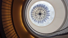 Spiral staircase, glass dome ceiling, Berlin, Germany Stock Footage