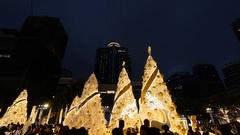 People enjoys Christmas decorations to celebrate Christmas season Stock Footage