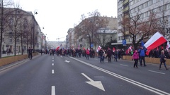WARSAW, POLAND - DECEMBER, 17, 2016. Protesters with Polish and EU flags Stock Footage