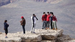 Tourists take Photos at the Grand Canyon Stock Footage
