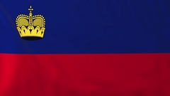 Flag of Liechtenstein waving in the wind, seemless loop animation Stock Footage