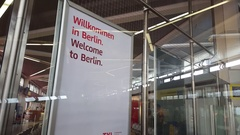 Welcome to Berlin, Willkommen in Berlin, sign at Tegel Airport, Germany Stock Footage