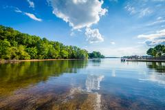 Lake Norman, at McCrary Access Area, in Mooresville, North Carolina. Stock Photos