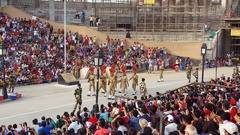 Indian soldier formation march, Wagah border ceremony, India Pakistan Stock Footage