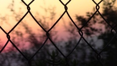 Looking at sunset through a fence (close-up) Stock Footage