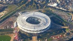 Olympic football stadium aerial West Ham London Stock Footage