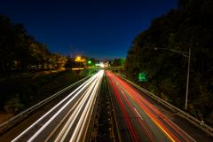 Interstate 40 Business at night, in downtown Winston-Salem, North Carolina. Stock Photos