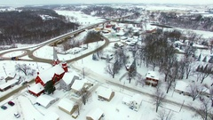 Small town America under heavy snowfall, beautiful ranch homes Stock Footage