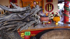 Closeup on Dragon Statue in Chinese Temple Stock Footage