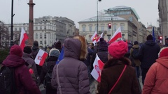 WARSAW, POLAND - DECEMBER, 17, 2016. Protesters with Polish, SLD and EU flags Stock Footage