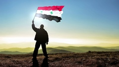 Successful silhouette man winner waving Syria flag Stock Footage