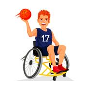 Basketball player with a disability in a wheelchair Stock Illustration