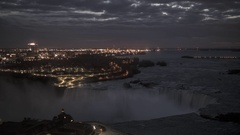 Time Lapse of Sunrise Over Niagara Falls from Hotel Room Window Stock Footage