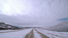 POV point of view - Driving on highway 34 mear Lake Branby in the Winter. Stock Footage