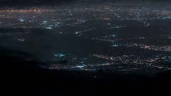 6K LA Night Cityscape Aerial Shot from Mountain Top - Clouds Time Lapse Stock Footage