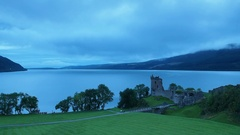 Urquhart Castle and Loch Ness in Scotland Stock Footage