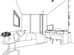 Outline sketch drawing interior perspective of house Stock Illustration