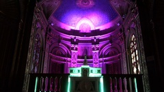 Art performance with led lights in a deconsecrated church Stock Footage