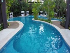 Mexico luxury resort jungle swimming pool 4K Stock Footage