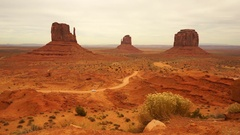 Car Travels Through Monument Valley Navajo Nation Tribal Park Stock Footage