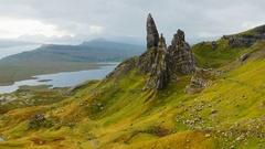 Old Man of Storr Rock on Isle of Skye Stock Footage