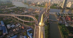 Bhumibol Bridge in Bangkok Aerial Drone Pullback With Tilt Stock Footage