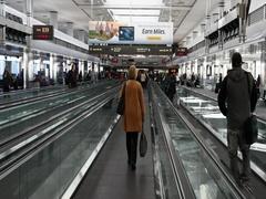 Denver International Airport passenger escalator POV DCI 4K Stock Footage